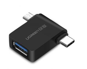 Adapter OTG 2w1 USB (A) 3.0 do USB-C  i micro-USB UGREEN