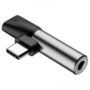 Adapter Audio Baseus L41 USB-C do Mini Jack 3.5mm + USB-C (srebrny)